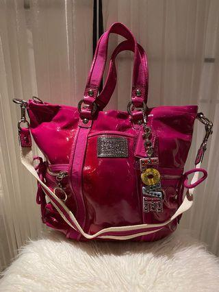 Coach Hot Pink Patent Tote with Crossbody Strap