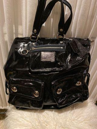 Coach Black Patent Tote with Crossbody Strap