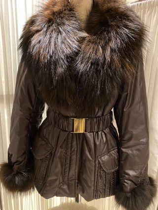 Italian Made Brown Coat with Fur & Belt