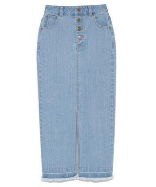 [二手|免運]日本正品 Snidel 前排釦淺藍單寧長裙