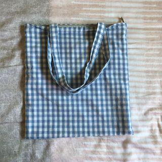 藍格紋手提包