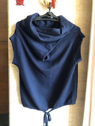 MONO深藍針織背心罩衫