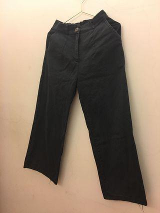 黑色牛仔寬褲