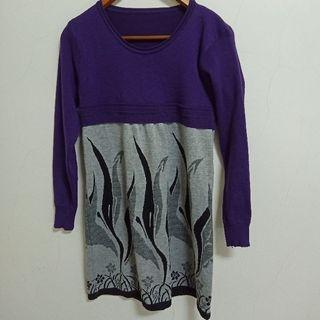 紫灰色連身裙/長版衣--299運費30,399免運--