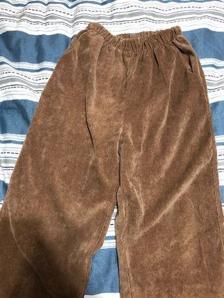 棕色 寬褲 燈芯絨