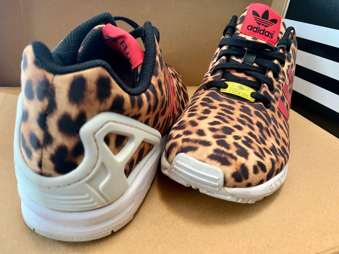 Adidas Torsion ZX Flux Leopard Print with 3 pink stripes size US 9