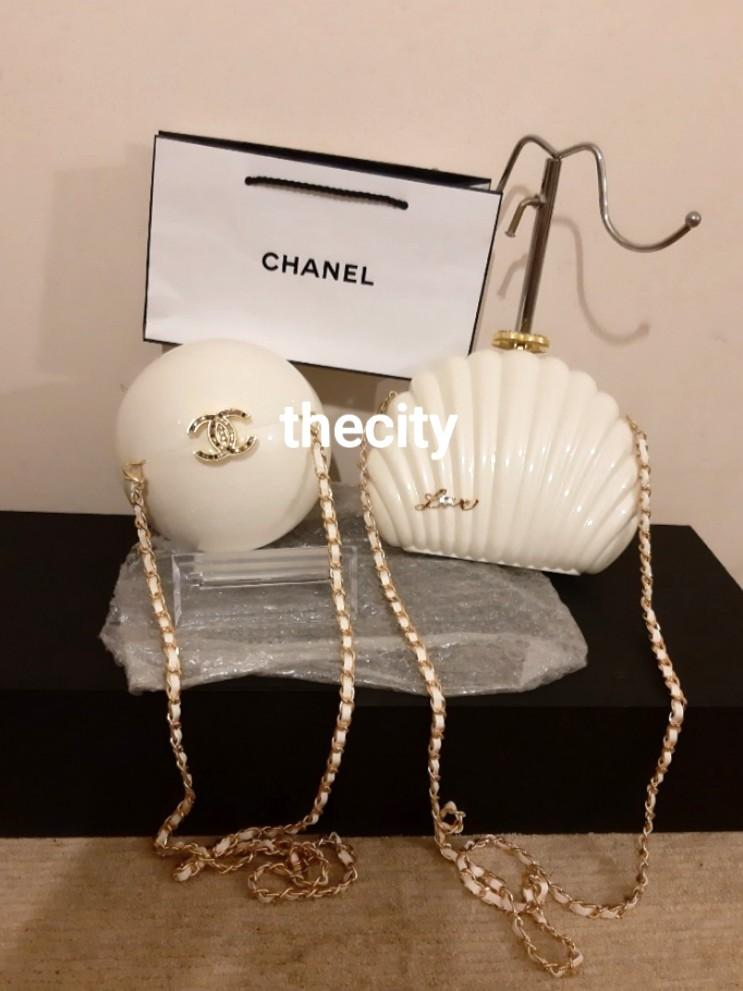 CHANEL JAPAN BOUTIQUE VIP GIFT, SHELL BAG & ROUND PEARL BAG - CC LOGO CRYSTAL CLASP - WITH EXTRA LONG CHAIN STRAP FOR CROSSBODY SLING - THIS IS A VIP GIFT, NOT A RETAIL ITEM - (MARKET RESELLERS LISTING AROUND RM 6000+)