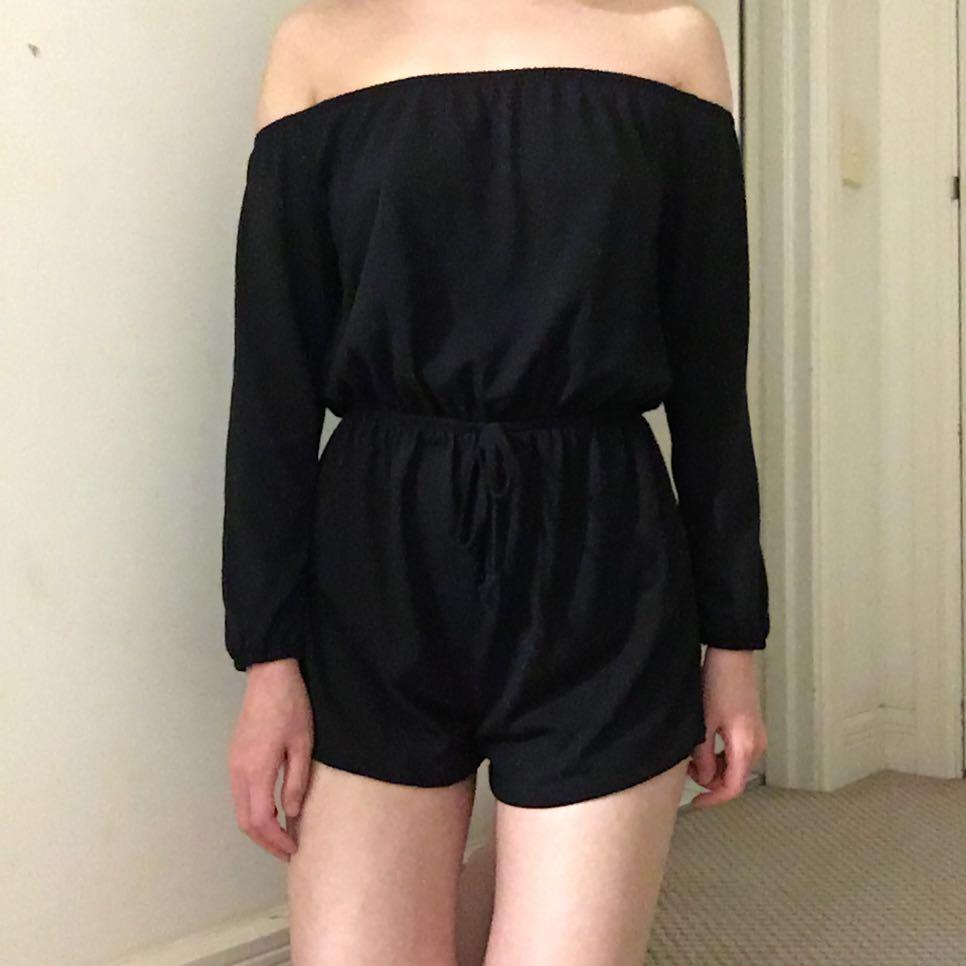 Cotton On Size XXS Black Long Sleeve Off Shoulder Playsuit Jumpsuit