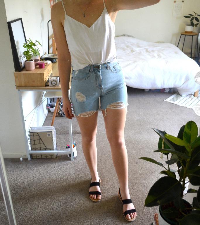 Dotti Distressed high-waisted cut off denim shorts