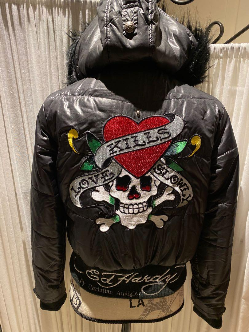 Ed Hardy Black Hooded Jacket with Patch Detail (Brand new)