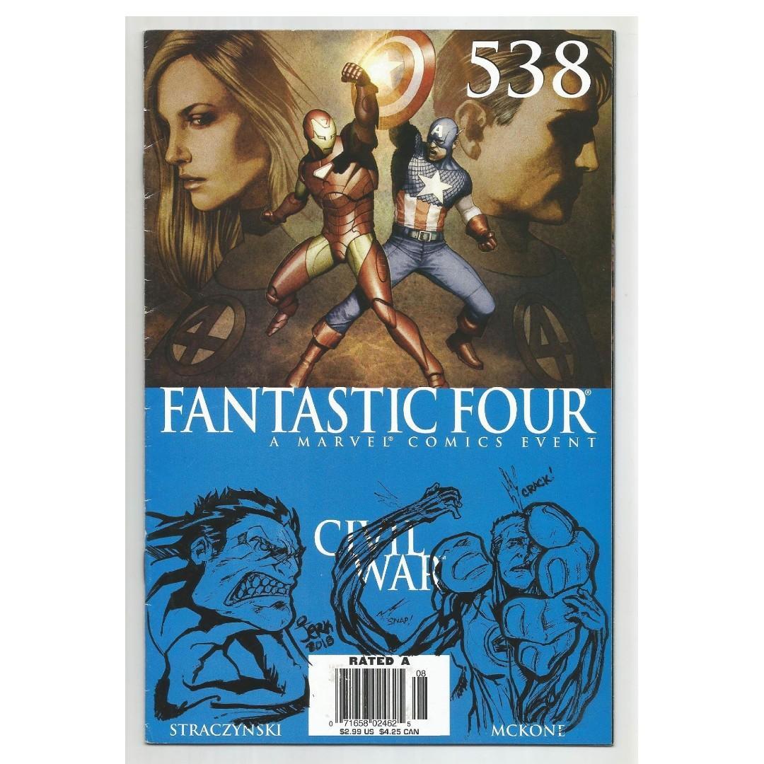 Fantastic Four (1998 3rd Series) # 538 with Original artwork Sketch HULK VS MR.FANTASTIC