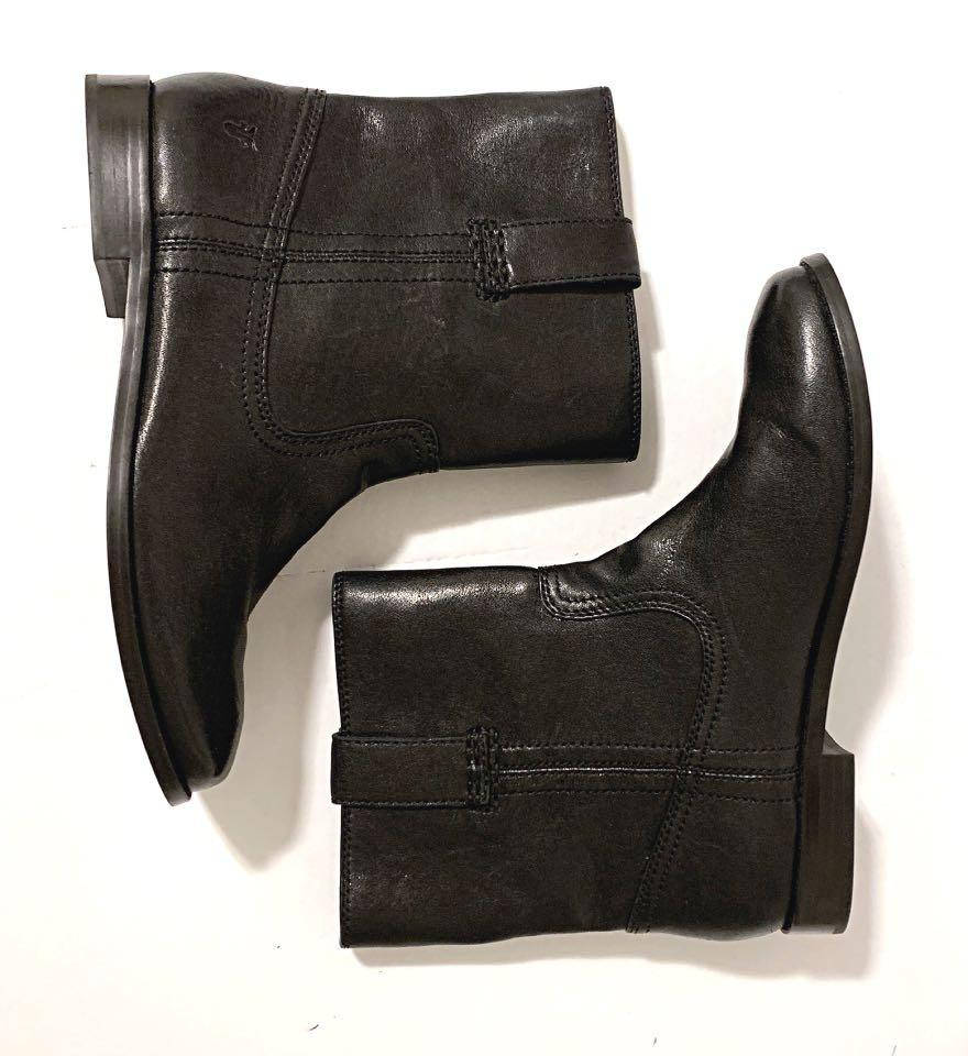 Frye Anna Short Black Leather Ankle  Booties  6.5M