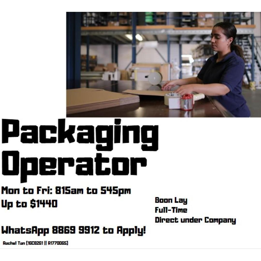 Full Time Packaging Operator - West (Start ASAP) - RT