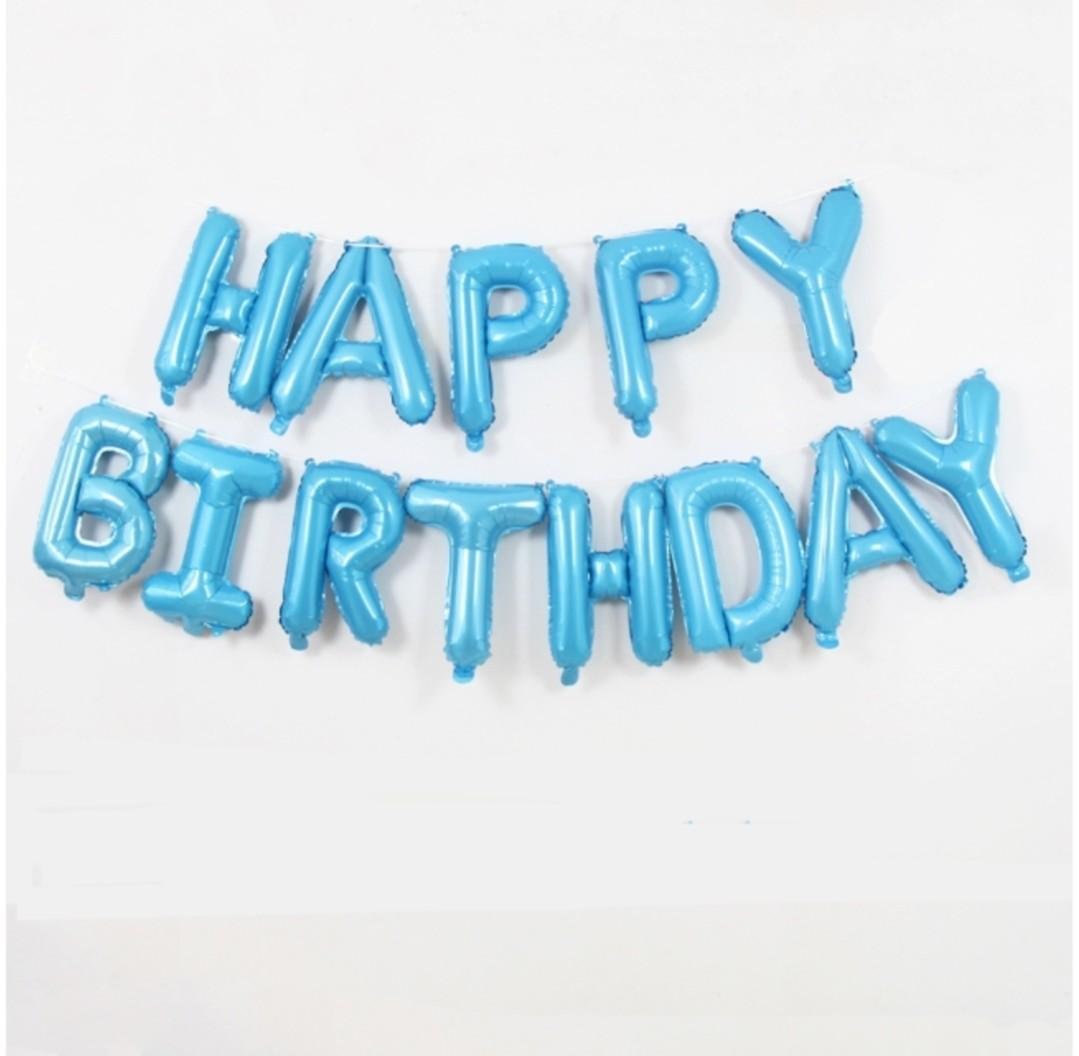 Happy Birthday Balloon Light Blue