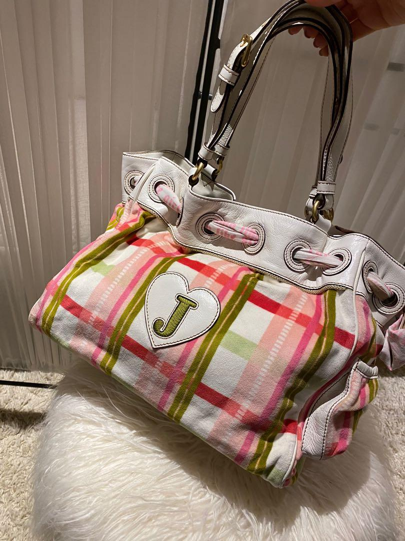 Juicy Couture Plaid Velvet and White Leather Bag (Brand new-Tags still attached)