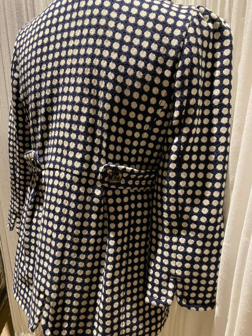 Juicy Couture Wool Coat Navy with White Polka Dots