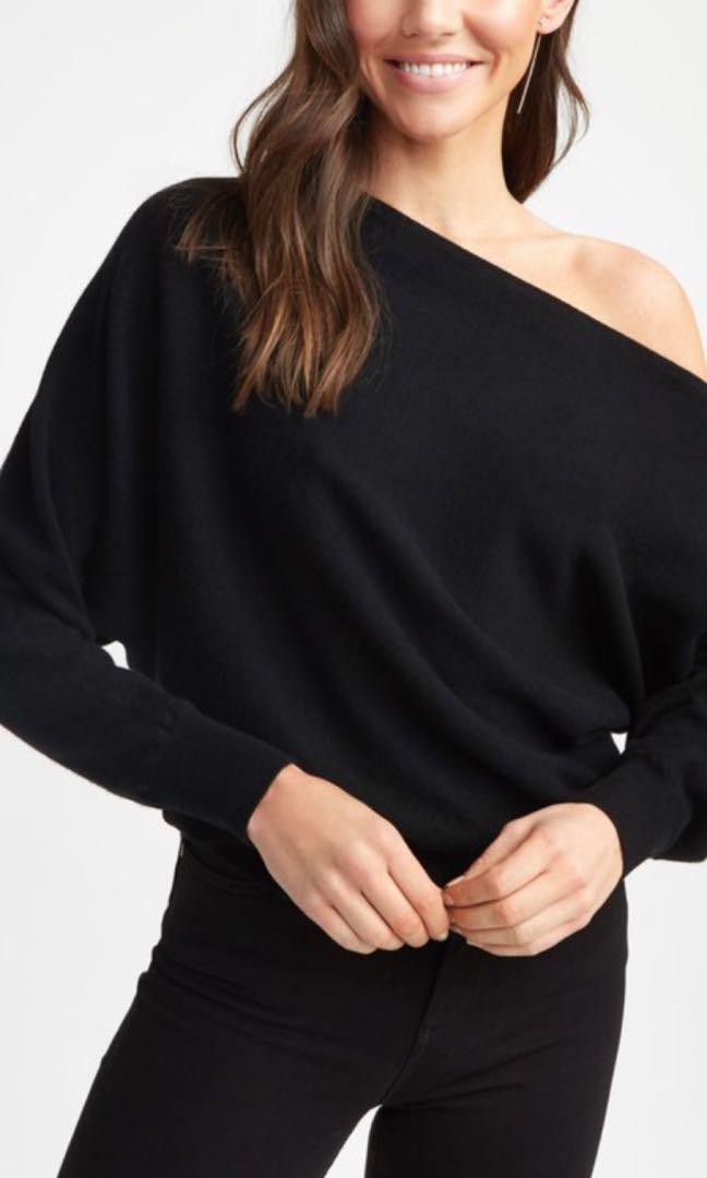 Kookai one shoulder cashmere top size 1 (6-8) black