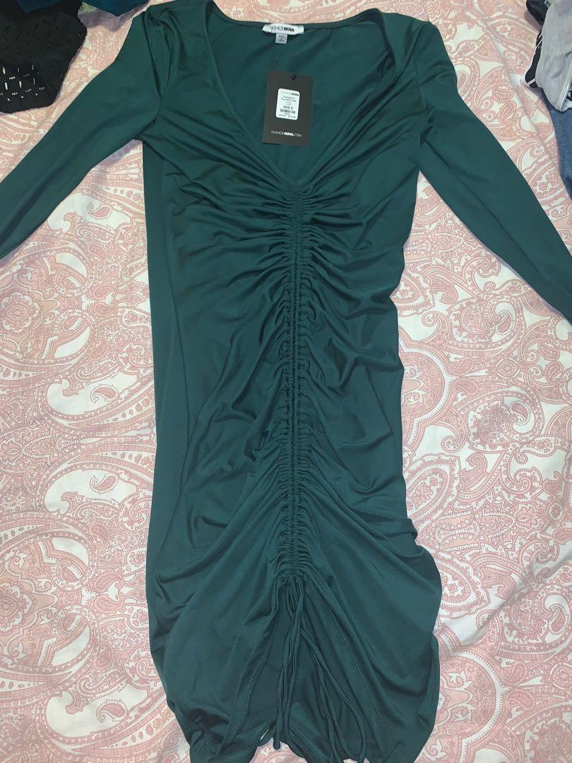 Long-sleeve, off the shoulder, green, ruched mini/midi dress!