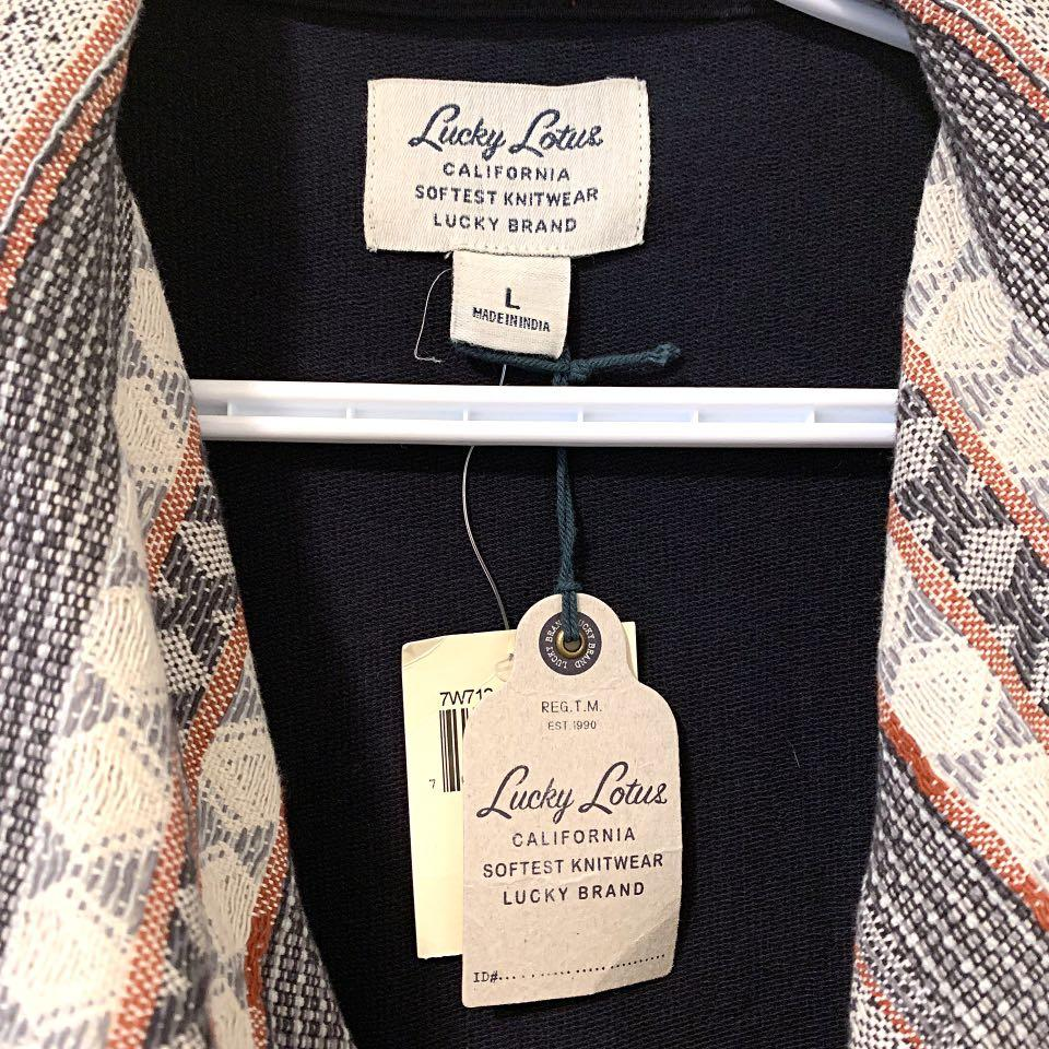 Lucky Brand Lucky Lotus Open Waterfall Cardigan - Large