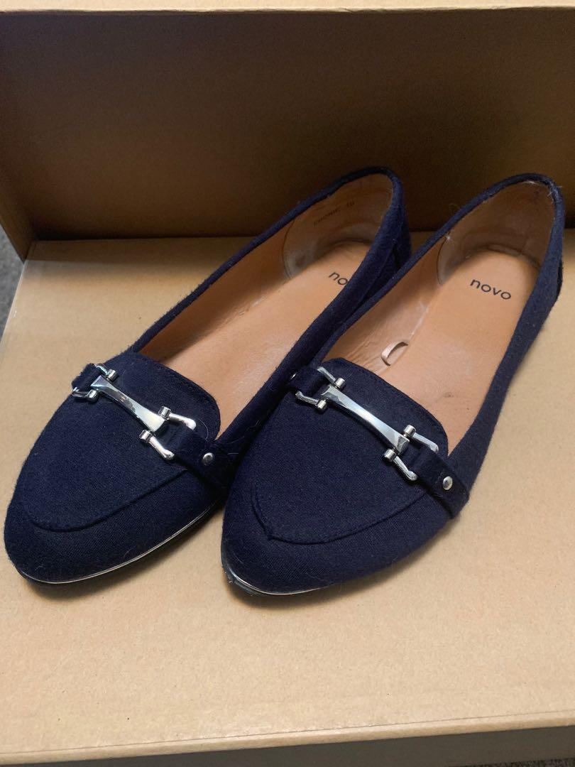 Novo women's loafers size 10 - 41 in blue with silver trims and hardware