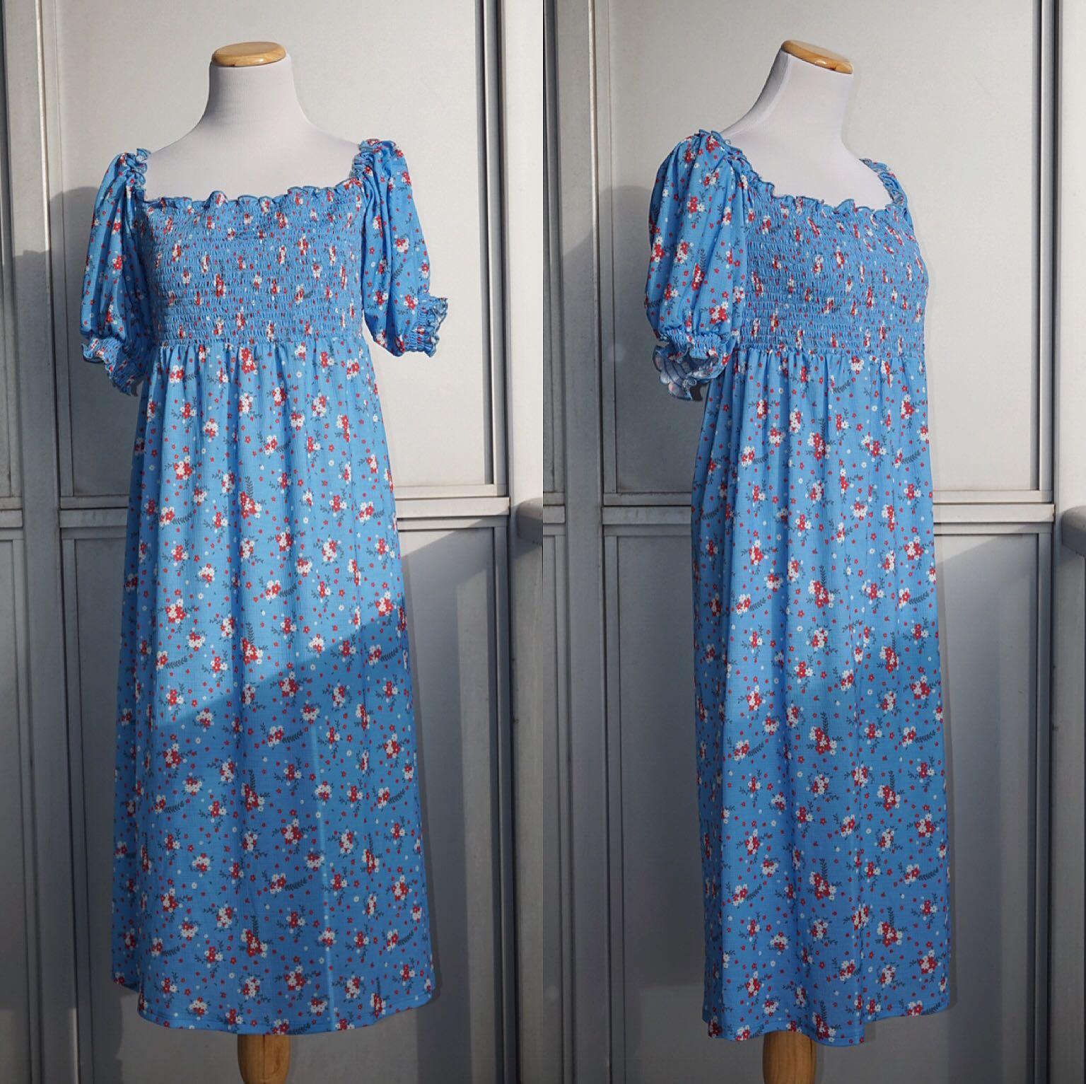 *NWT* ASOS Off-the-Shoulder Floral Smocked Midi Dress Size 8