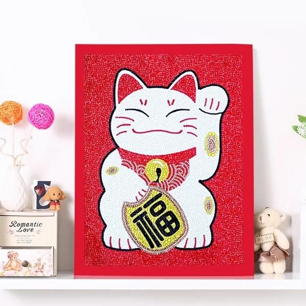 [PO] Fortune Cat (福) 5D Diamond Painting with Frame