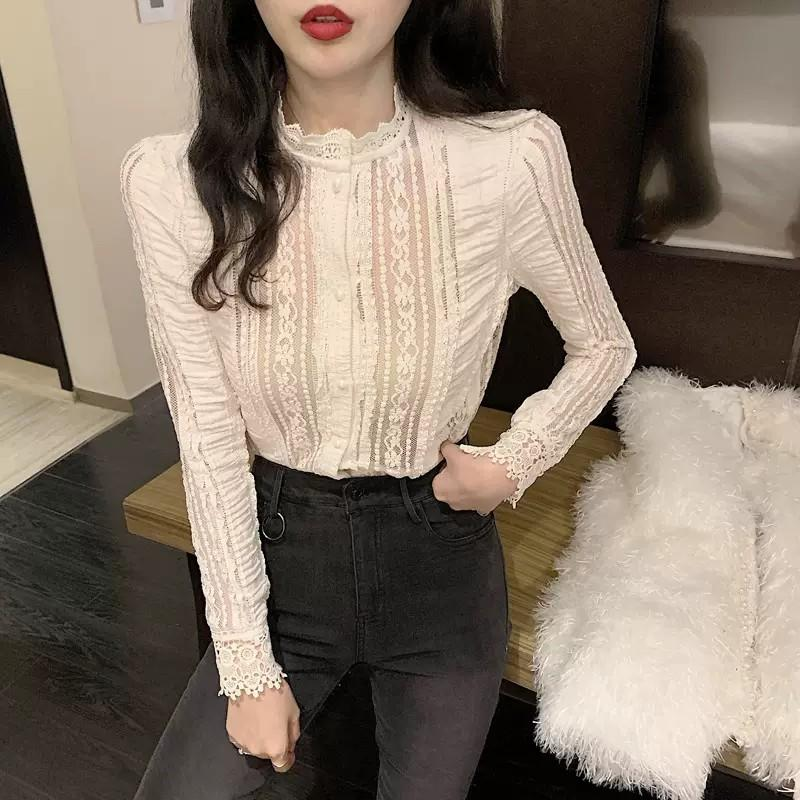 PO Ruffle High Neck Collar Lace Pattern Long Sleeve Button Blouse Top White Ulzzang