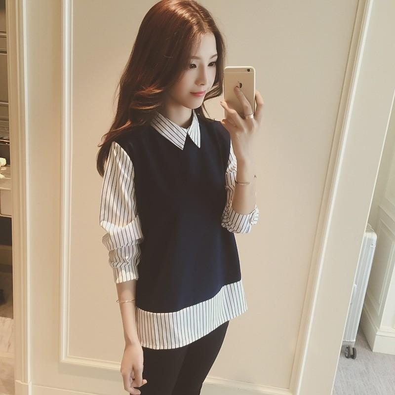 [Pre-loved] Top Faux Two Piece Collar T-shirt Blouse Navy Blue Strips