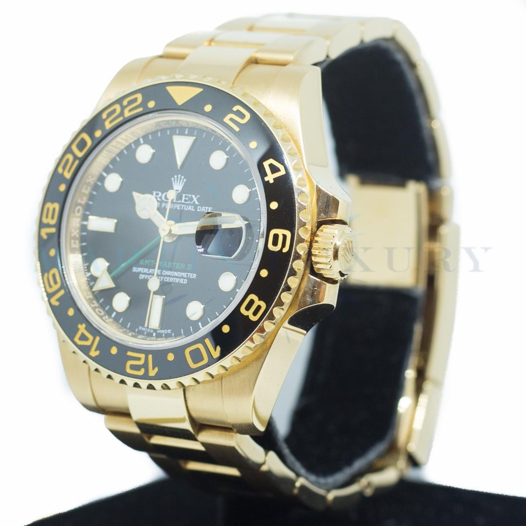 Preowned Rolex GMT Master II Ceramic in 18k Yellow Gold Ref: 116718LN