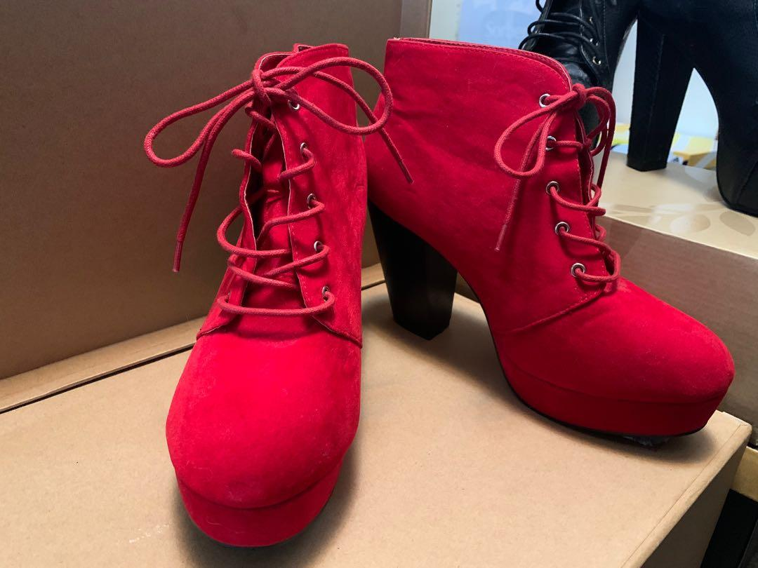 Red Faux Suede Platform Chunky Bootie Heel size 9 US.