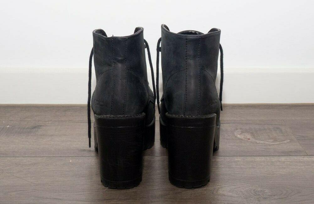 ROC Pampas Black Laced Leather Heels Boots in Size EU40