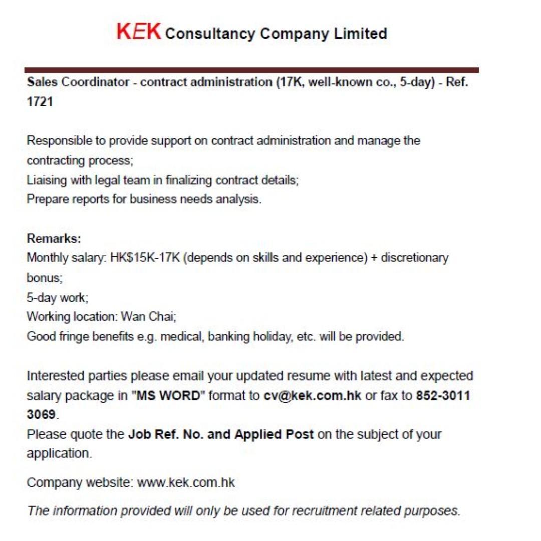 Sales Coordinator-contract administration (17K) - Ref. 1721