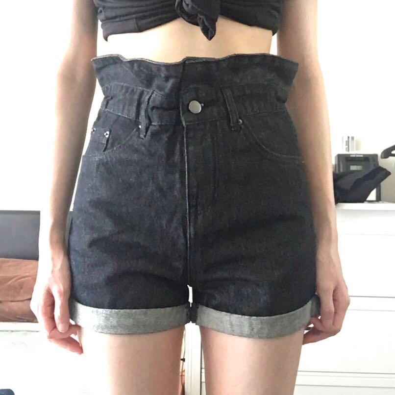 Size 6-8 Washed Black High Waisted Paper Bag Shorts
