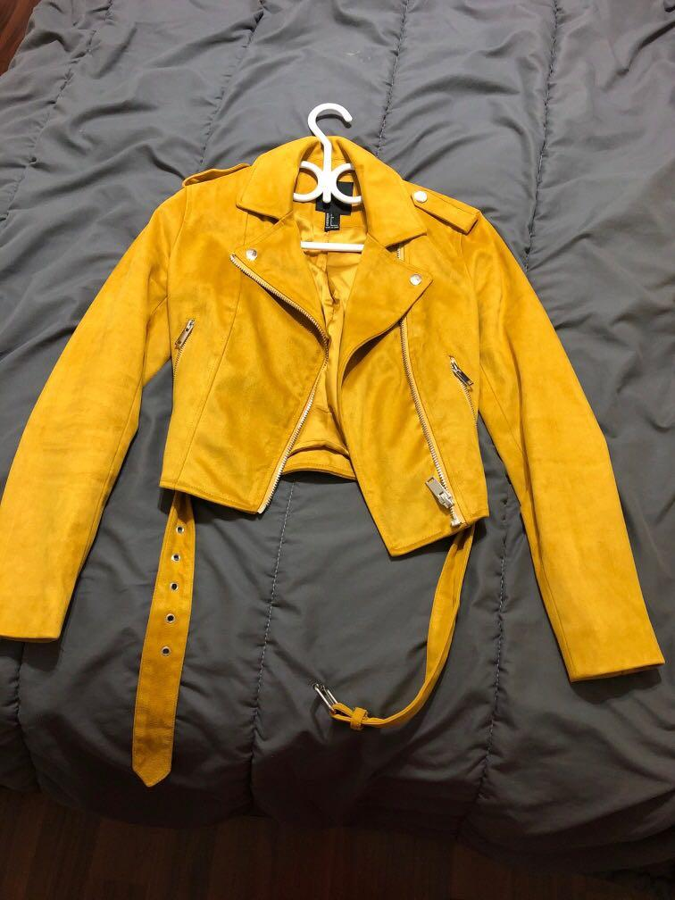 Suede jacket yellow mustard