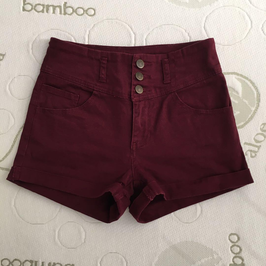 Supre Size 8-10 Maroon Button Up High Waisted Cuffed Shorts