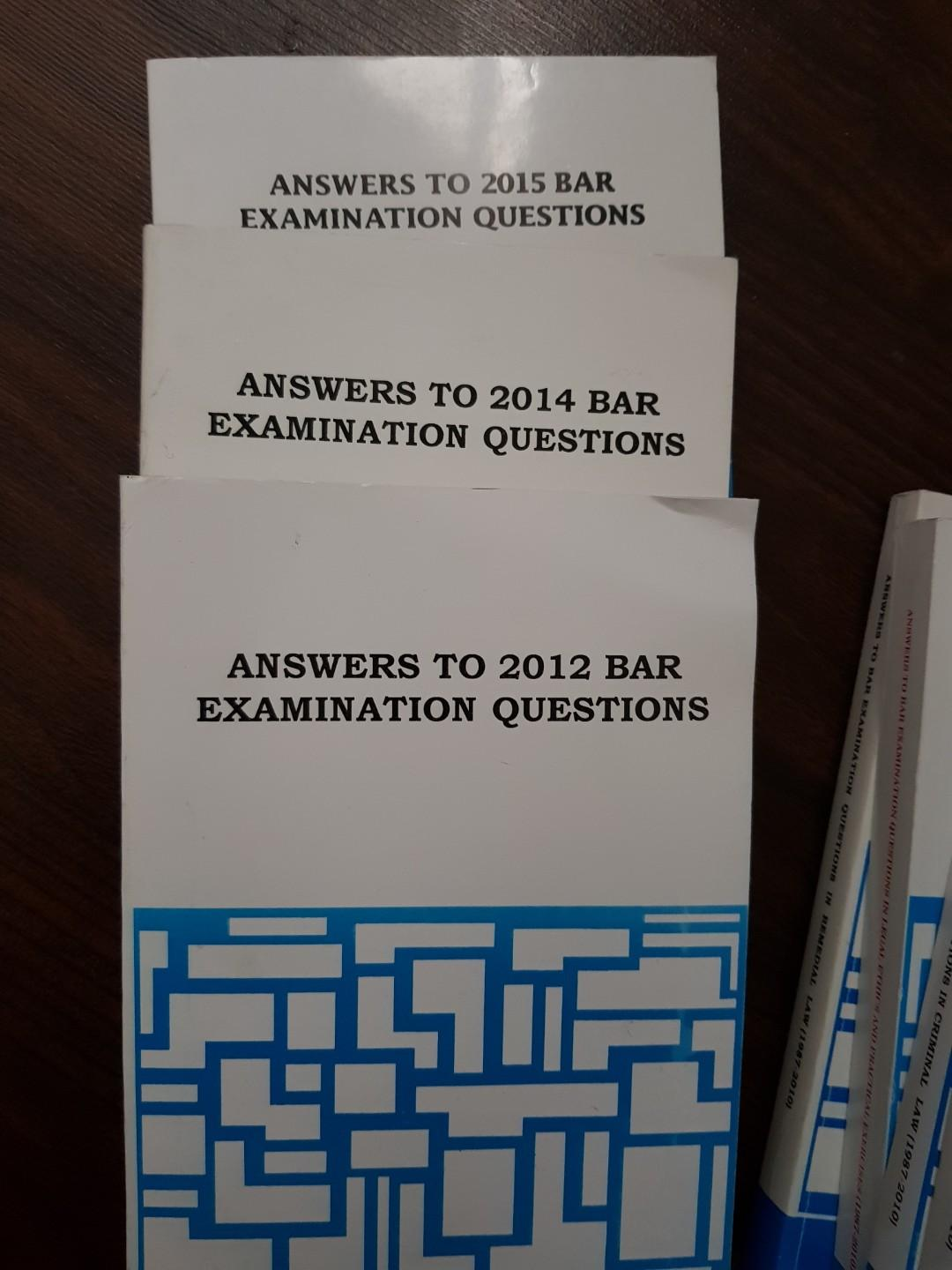 UP Law Center Answers to Bar Exams Questions SET (1987-2010) and (2012, 2014, 2015)