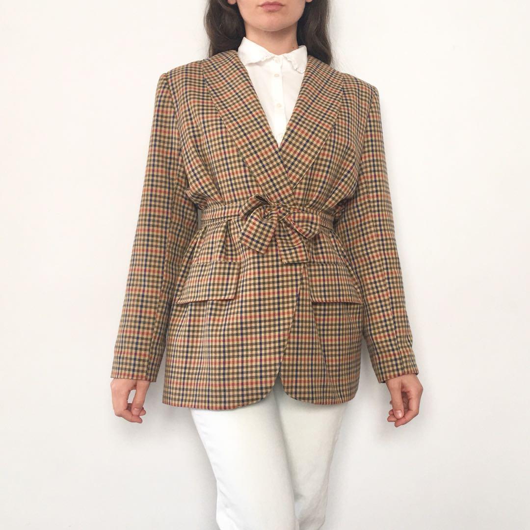 Vintage 90s neutral check tie waist blazer size 14 L