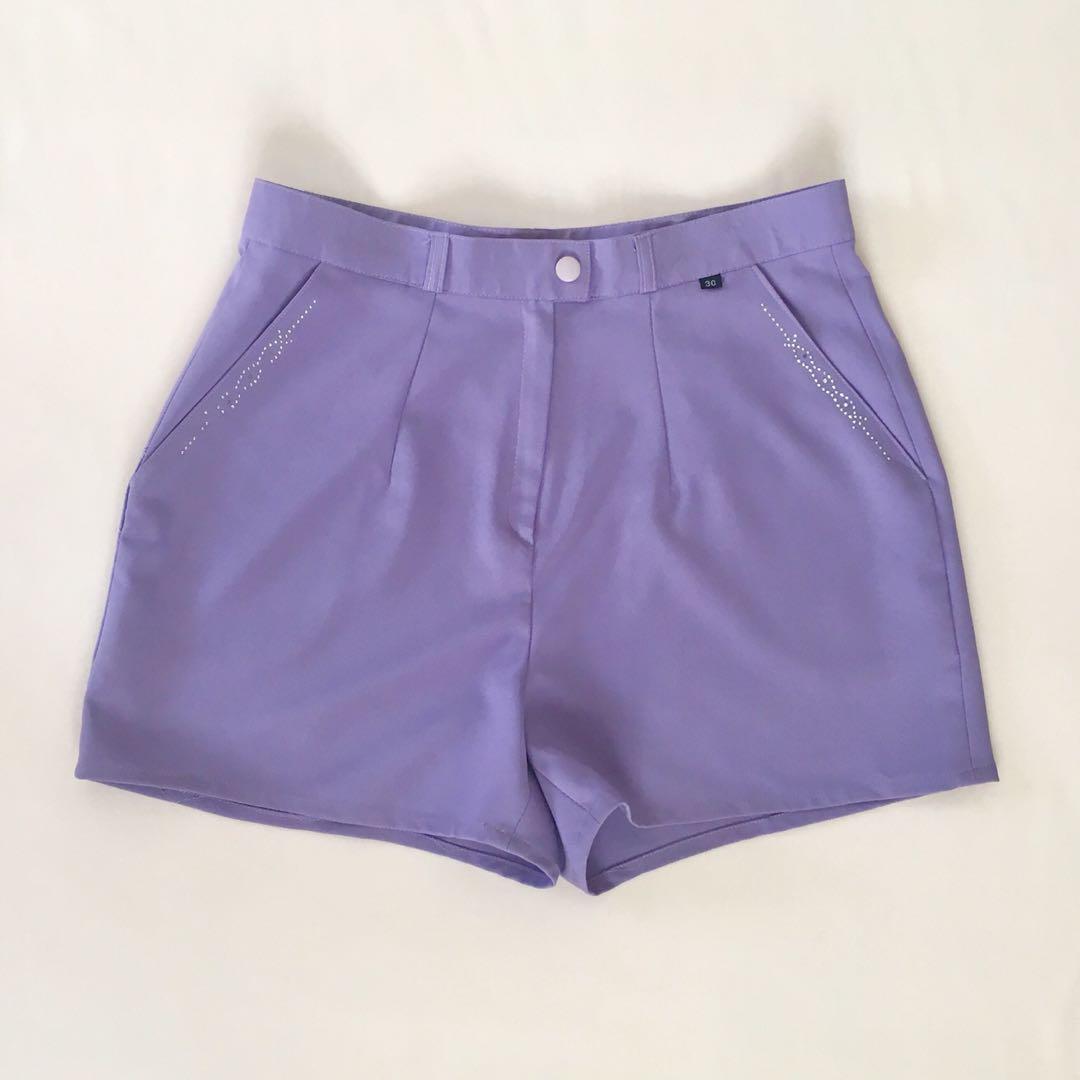 Vintage 90s pastel purple high waist shorts with Diamanté detail size M
