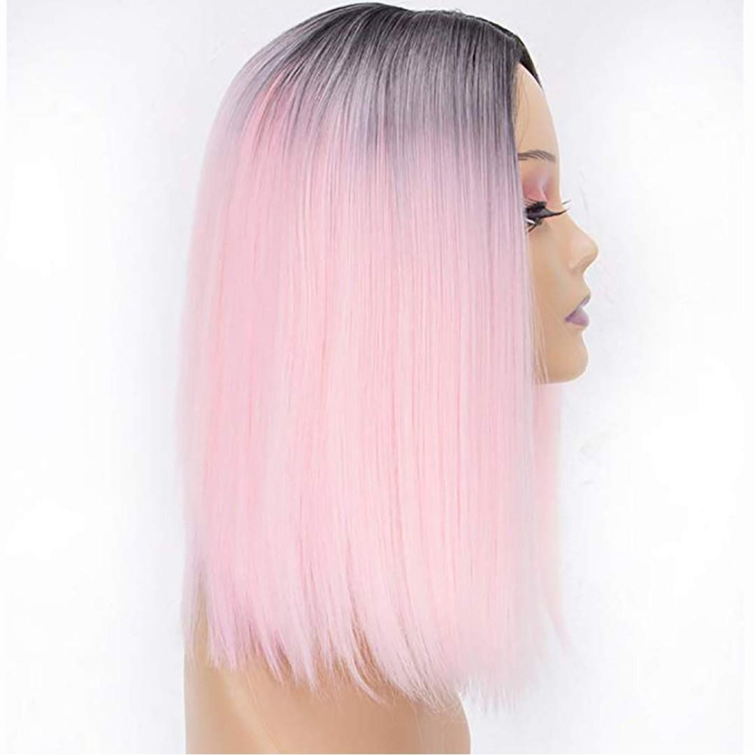 Wigs For Women Pink,Dark Roots To Pastel Pink Wig,Premium Heat Friendly Synthetic Hair Wig,Pink