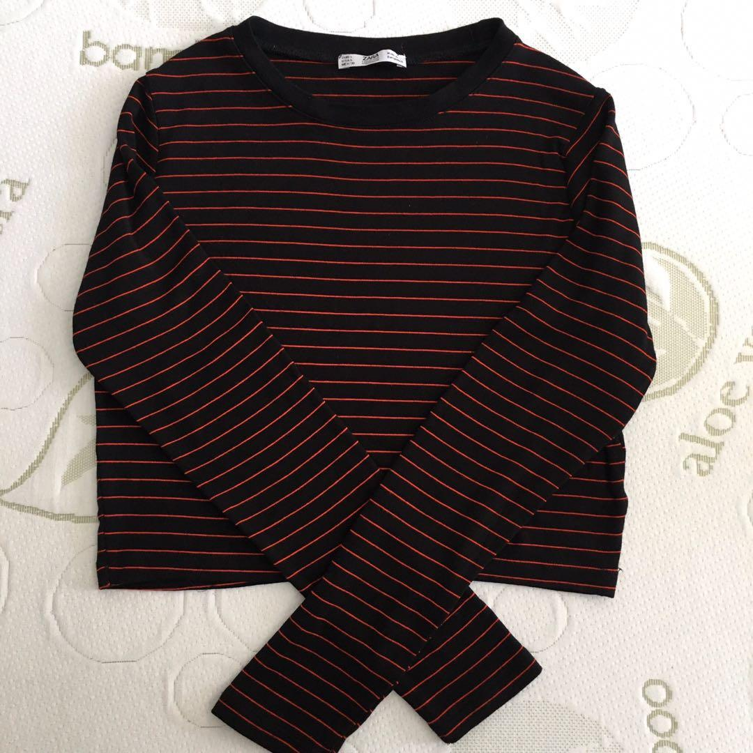 Zara Size L Black And Red Korean Style Stripe Long Sleeve Crop Top
