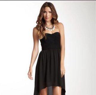 Black Strapless Bandage Hi-Lo Dress by Love Stitch size S