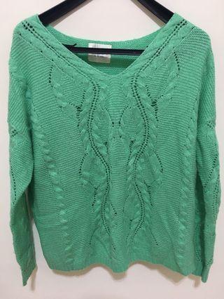 綠針織毛衣
