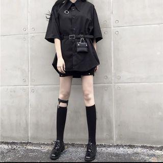 全新 送皮帶包包暗黑風襯衫 #出清2019