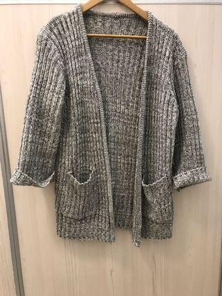 麻花紋蓬袖開襟針織外套