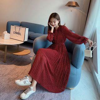立領寬松顯瘦百褶中長款點點雪紡連衣裙打底裙附綁帶·紅色