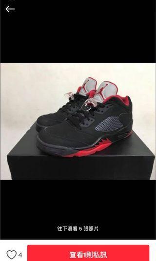 Air Jordan 5 low 紅黑 喬丹五代 低筒籃球鞋US9