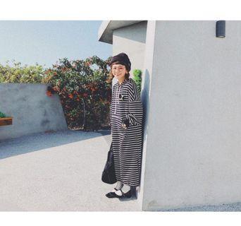 bigapple愛波條紋帽t洋裝
