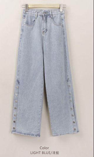 淺藍造型寬褲 #出清2019