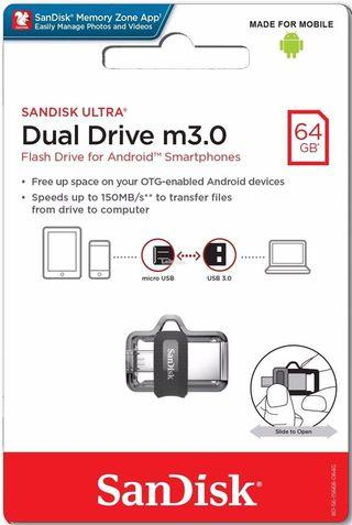 Sandisk Ultra Dual Drive m3.0  64gb selling at  $15.20