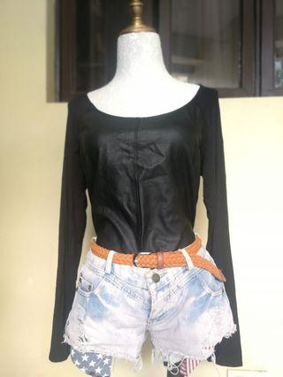 Mossimo black longsleeves with leather front